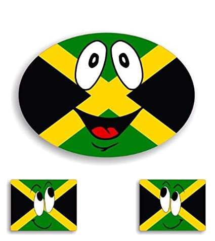 3x jamaican jamaica flag smiley car stickers window decal bumper