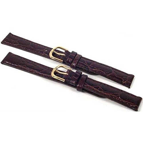 (2 Watch Bands Leather Croco Brown Gold Buckles 16mm)