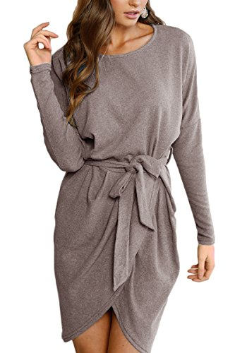 r Women Sunfury Crewneck Long Sleeve Knit Dress with Belted Grey XL (Belted Knit Dress)
