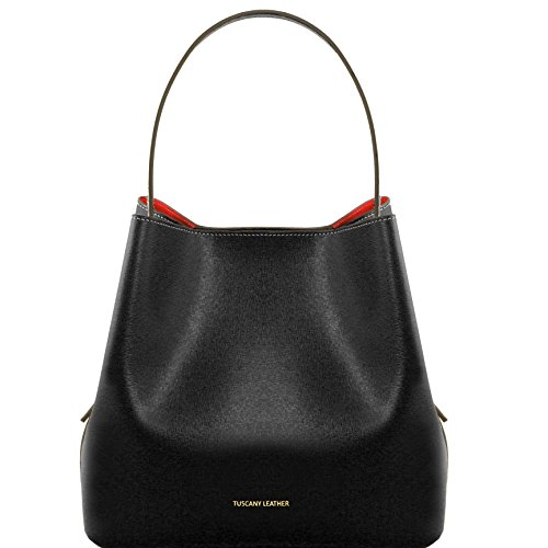 Tuscany Leather Arianna Saffiano leather secchiello bag with inside clutch Black by Tuscany Leather