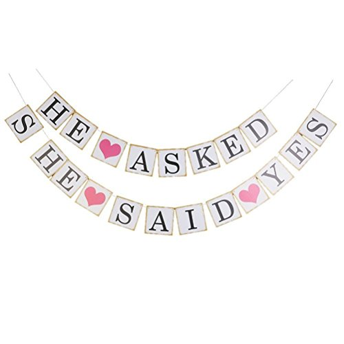 'HE ASKED, SHE SAID YES' Bridal Wedding Banner Photo Prop Garland Card Decoration Signs