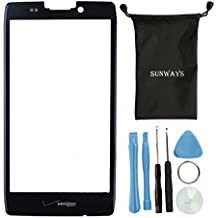 Sunways Outer Glass Screen Replacement For Motorola Droid Razr Maxx HD XT925 XT926 XT926M With device opening tools(Black)