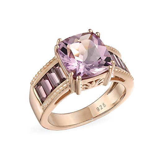 5.45CT Square Cushion Cut Pink Amethyst Ring For Women Rhodolite Garnet Baguette Rose Gold Plated 925 Sterling Silver ()