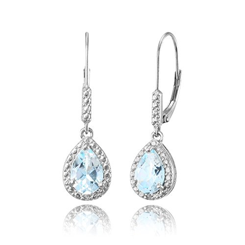 Sterling Silver Blue Topaz Teardrop Dangle Leverback Earrings (Pear Topaz Shaped)