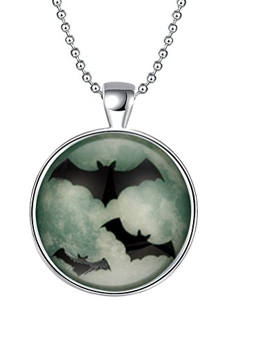 [PMTIER Halloween Flying Black Bats Glow in the Dark Necklace Silver Plated Charm] (College Girl Halloween Costumes Creative)