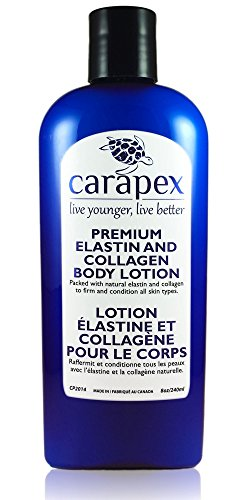 Body Lotion Anti Aging, Carapex Premium Elastin & Collagen Body Lotion, 96% Natural, for Sensitive Skin, Aging Skin, Firming, Hydrating, Fragrance Free, Paraben Free, with Shea Butter, Vitamin E, 8oz