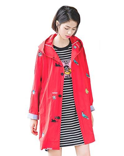 URLAZH Womens Embroidered Coat Lightweight Trench Coat Rain Jacket Windbreaker Longline Warm Parka Coat (4-6 (US) = S (Asia))