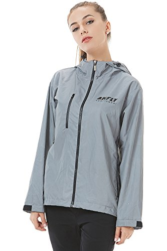 AKFLY Reflective Jacket With Hoodie and Waterproof Wind Breaker For Men Women Running Jogging Cycling Motorcycle Sport Safety Jacket(Medium) (Jackets Women Running)