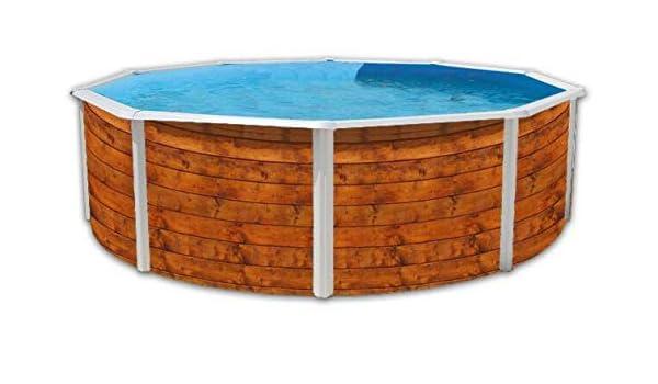 Piscina acero redonda imitacion madera 3,50 x altura 1,20m 8106: Amazon.es: Juguetes y juegos