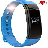 Fitness Tracker Watch, TH Waterproof Fitness Tracker with Heart Rate Monitor Activity Bluetooth Bracelet Watch for Apple IOS Android Smartwatch with Sleep Monitoring Wristband Band Blue