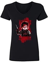 New Novelty Graphic Tee Horror Movie Cult Womens Vneck T-Shirt