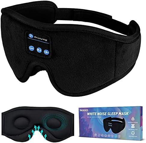 REEKO Sleep Mask Bluetooth Headphones, White Noise 3D Contoured 100% Blackout Eye Mask, Cool Tech Gadgets,Comfortable & Soft Night Blindfold for Women Men Travel Naps Eyes Shades,Black