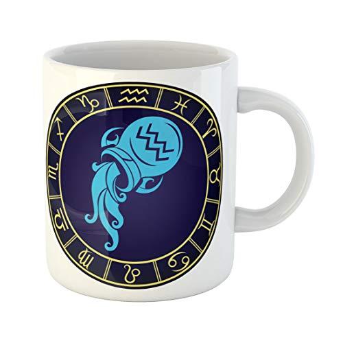 Semtomn Funny Coffee Mug Circle Aquarius Zodiac Sign in the Golden Gemini Scorpio 11 Oz Ceramic Coffee Mugs Tea Cup Best Gift Or Souvenir