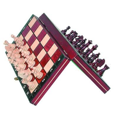 "Travel Magnetic Chess Set w/ Wooden 10.4"" Board and Chessmen"