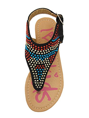 Evelyn-55 Little Girls Flat Thong Sandals with Micro fabric Upper and Colorful Studs