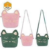 TOODOO Little Girls Purses Cute Cat Ears Girl Crossbody Shoulder Bag for Kids, Toddler, Girls (Pink and Green)