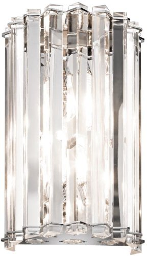 Kichler 42175CH, Crystal Skye Crystal Wall Sconce Lighting, 2 Light, 100 Total Watts Halogen, Chrome