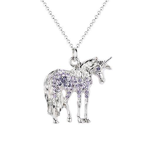Birthstone Unicorn - Luomart Unicorn Birthstone Necklace Jewelry White Gold Plated Austrian Crystal Horse Pendant Gift (Amethyst)
