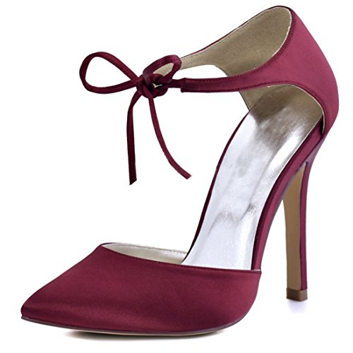 Minitoo Ladies Stliletto Heel Lace-up Satin Evening Formal Party Wedding Shoes Burgundy-10cm Heel WSUkM
