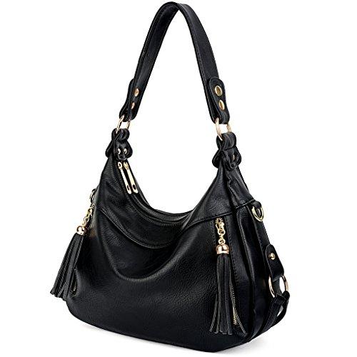 UTO Women Handbag PU Leather Purse Hobo Style Shoulder Bag Black (Leather Purse Tan)
