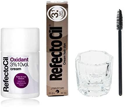 Refectocil KIT - Cream Hair Dye + Creme Oxidant 3% 3.4oz + Mixing Dish + Mascara Brush (Light Brown)