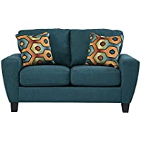 Sagen Collection 9390235 62 Loveseat with Microfiber Upholstery Removable Seat Cushions Tapered Legs and Contemporary Style in Teal