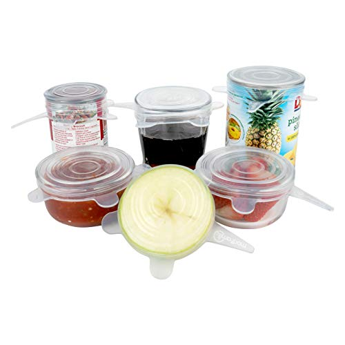 Silicone Stretch Lids (6 Pack, All Small Lids), Reusable, Durable, Expandable. Great for Keeping Food and Drinks Fresh, Dishwasher and Freezer Safe (2.8 In. in Diameter - Seals up to 4 Inch Container)