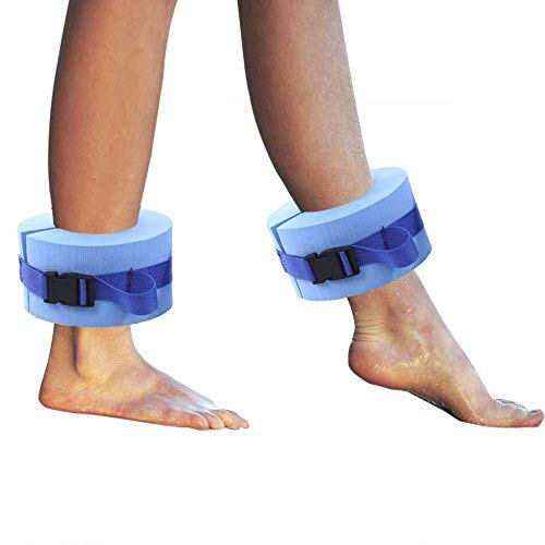 happyday04 Foam Swim Aquatic Cuffs,Aqua Resistance Exercise Cuffs Water Aerobics Float Ring Fitness Exercise Set, Ankles Arms Belts with Quick Release Buckle for Swim Fitness Training Set of 2, Blue