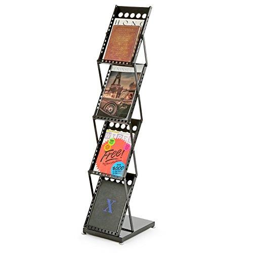Modern Folding 4 Tier Metal Magazine Rack, Freestanding Literature Display Stand, Black by MyGift (Image #4)