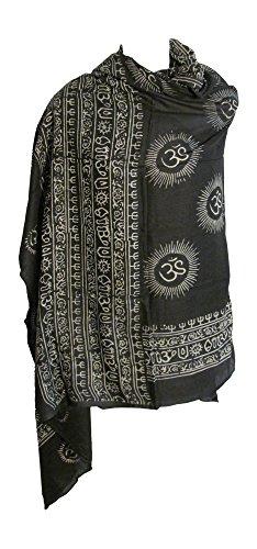 Om/Ohm MANTRA Yoga Meditation Cotton Altar Cloth Prayer Shawl Tapestry  Large (Black w/ White)