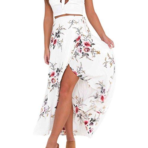 Ketamyy Femme Irrgulier Split Impression Longue Jupe La Mode Casual Jupe en Mousseline De Soie Blanc
