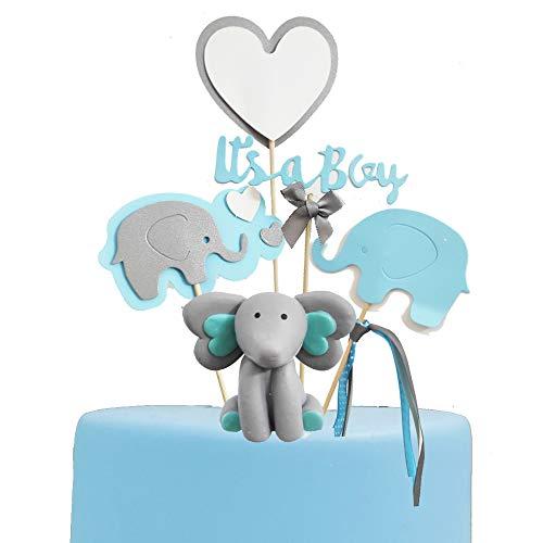 Elephant Cake Topper (GmakCeder Elephant Baby Shower Cake Topper for Boy Blue)