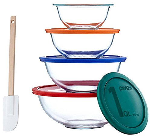 Pyrex Smart Essentials 8-Piece Mixing Bowl Set With Free Bakers Secret Spatula (Bundle) by World (Kitchen Glass Mixing Bowl)