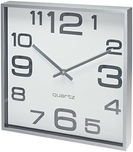 products large wall clock inch modern square elegant quality quartz battery operated silver matte gray decorative home clocks uk very