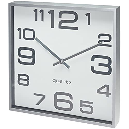 Bernhard products large wall clock 11 inch modern large square elegant wall clock quality quartz battery operated silver matte gray decorative home