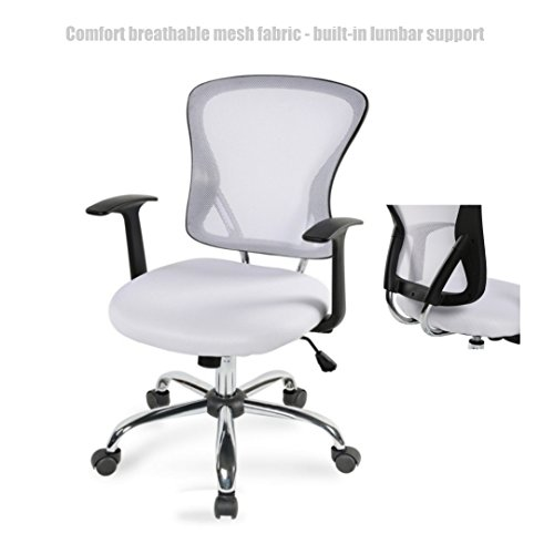 Modern Executive Desk Chair Mid Back Design Breathable Mesh Fabric Built-in Lumbar Backs Support Durable Dual-wheel Casters Ergonomic Office Chair - White - Austin Macy