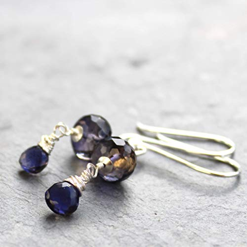 Blue Gemstone Earrings Sterling Silver Chunky Iolite beads ()