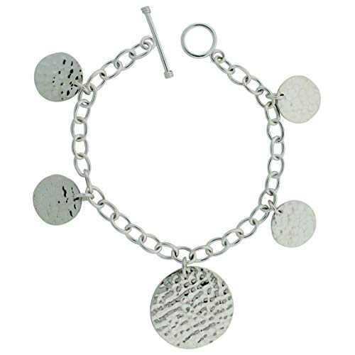 Sterling Silver Hammered Disc Link Chain 8 inch Toggle Bracelet ()