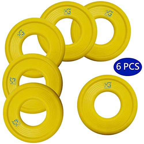 Macro Giant 9 Inch Soft Foam Frisbee Flying Discs, Set of 6, Yellow, Playground, Kid Sports Toy, Ring Toss Game, Parenting Activity, Outdoor Indoor, Camp Game