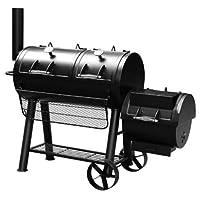 Minnesota El Fuego BBQ-Smoker XXL schwarz Garten ✔ Rollen ✔ Deckel ✔ Ablagefläche ✔ rund ✔ rollbar ✔ stehend grillen ✔ Grillen mit Holzkohle ✔ mit Station ✔ mit Rädern