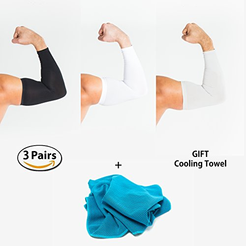 UV Protection Arm Cooling Sleeves - Set of 3 Cooling Sleeves + Fitness towel, Sports Sleeves Are Good As: Basketball Sleeve, Football Arm Sleeve, Tennis Sleeve, UV Sleeves Sun Sleeves + Sports towel