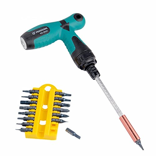 17pcs T Grip/Type /Handle Ratchet Screwdriver Set Star-head Flat-head Nut Drivers Hex socket wrench | angle wrenches S2 Bit Multifunction Hand Tool Sets (Diffrent Nuts)