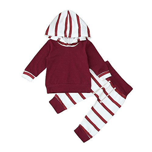Winter Clothes Outfits Set MITIY 2pcs Toddler Baby Boy Cotton Striped Hoodie Tops+PantsNewborn-18M (Red, 6M) ()