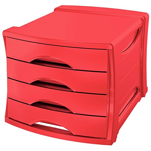 Esselte 4 Europost Drawer Cabinet, Organiser, Vivida Range, Red 623960