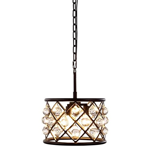 (Elegant Lighting 1213D12MB/RC Madison Collection 3-Light Pendant Lamp with Royal Cut, 12