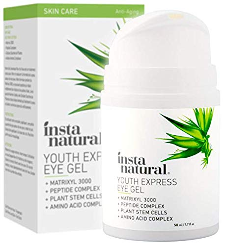 (InstaNatural Eye Gel Cream - Wrinkle, Dark Circle, Fine Line, Puffiness, Redness Reducer - Anti Aging Blend for Men & Women with Hyaluronic Acid - Fight Bags & Lift Skin Under Eyes - 1.7 oz)