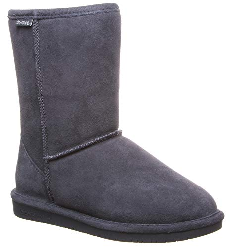 BEARPAW Women's Emma Short Snow Boot (9 B(M) US, Charcoal/Champagne) -