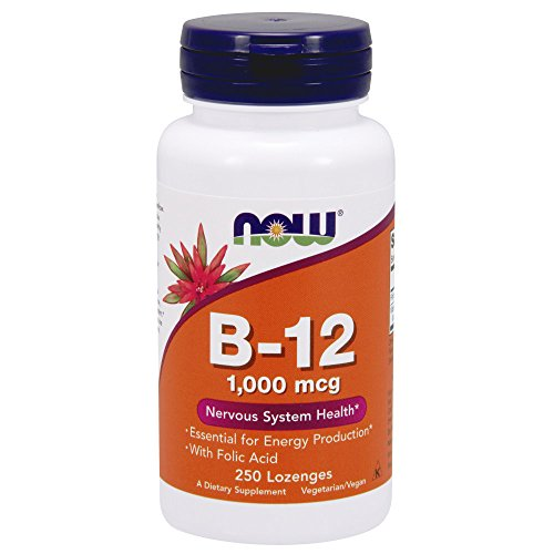 NOW Vitamin B-12 (1000 mcg) with Folic Acid,250 Chewable Lozenges