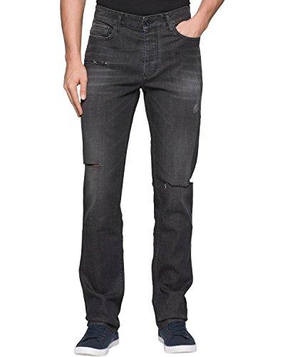 Metal Mens Jeans - Calvin Klein Jeans Men's Slim Straight Jean, Destructed Metal, 36x32