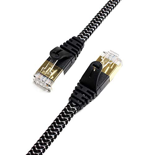 Tera Grand - 12FT - CAT7 10 Gigabit Ethernet Ultra Flat Patch Cable for Modem Router LAN Network - Braided Jacket, Gold Plated Shielded RJ45 Connectors, Faster Than CAT6a CAT6 CAT5e, Black & White